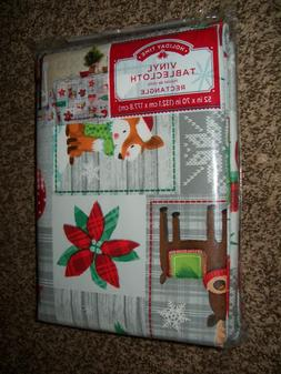 NEW Holiday Time Vinyl Table Cloth Rectangle 52 x 70 Christm