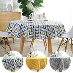 Nordic Polyester Cotton Round Table Cloth Cotton and Linen P