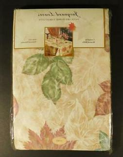 NOS Benson Mills JACQUARD LEAVES AUTUMN FABRIC TABLECLOTH ~