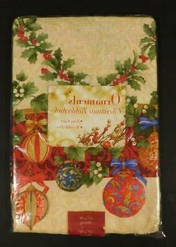 "NOS Benson Mills ""ORNAMENTS"" Christmas Tablecloth ~ 52"" x 70"