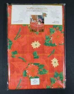 "NOS Benson Mills ""POINSETTIA PLAID"" Christmas Tablecloth ~ 6"