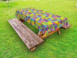 Ambesonne Nursery Outdoor Tablecloth, Colorful Plastic Const