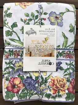 NWT NEW APRIL CORNELL TABLECLOTH 60 x 104 FLORAL FRENCH COUN