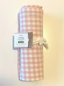 NWT Pottery Barn Pink GINGHAM TABLE THROW Cloth Cotton EASTE