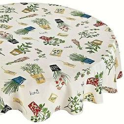 """NWT Potted Herbs Table Cloth Garden 60"""" Round Polyester"""