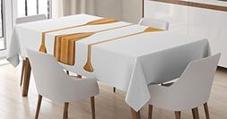 Ambesonne Oar Tablecloth, Three Traditional Wooden Canoe Pad