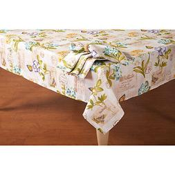 oblong rectangle  tablecloth Spring Botanicals Butterfly