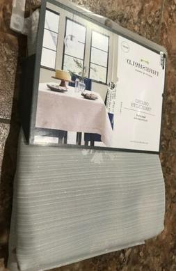 Oblong table cloth 60x84 gray white silver snowflakes
