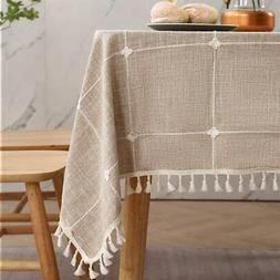 Oblong Tablecloth, 55 x 70Inch Linen, Checkered Table Cloth