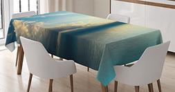 Ambesonne Ocean Decor Tablecloth, Panorama of Sea Sunset Sun