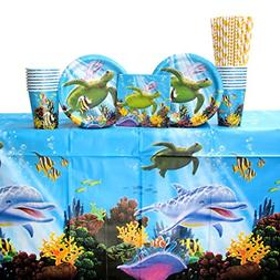 ocean party tableware supplies bundle for 16 guests: straws,