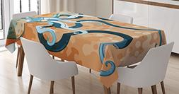 Ambesonne Octopus Decor Tablecloth, Giant Octopus with Long