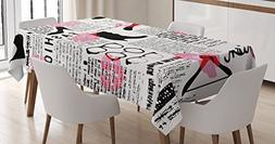 Ambesonne Old Newspaper Decor Tablecloth, Fashion Elements K