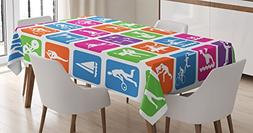 Ambesonne Olympics Decorations Tablecloth, Collection with 3