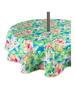 "DII Outdoor Tablecloth With Zipper 52"" Round w, Summer Flora"