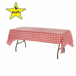 Pack of 4 Plastic Red and White Checkered Tablecloths - Picn