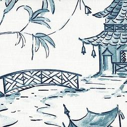 Close to Custom Linens Pagodas Seaside Blue Oriental Toile 9
