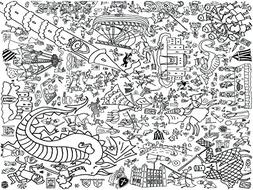 Colour-in Knights & Maidens Tablecloth