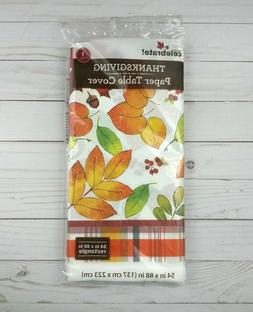 Paper Tablecloth Tablecover Party 54x88 Fall Leaves Plaid Th