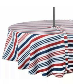 "DII Patriotic Stripe Outdoor Tablecloth 60"" Round w/Zipper C"