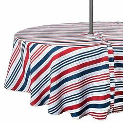 DII Patriotic Stripe Outdoor Tablecloth With Zipper