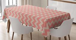 Ambesonne Peach Tablecloth, Zigzag Chevron Pattern Geometric