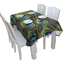 BAIHUISHOP Peacock Feathers Floral Print Tablecloth Rectangu