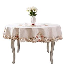 JH tablecloths Pink flower embroidered hemstitch cream sprin