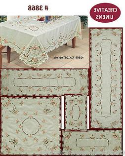 Pink Rose Daisy Spring Embroidered Floral Placemat Table Run