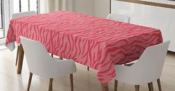 Pink Zebra Tablecloth Ambesonne 3 Sizes Rectangular Table Co