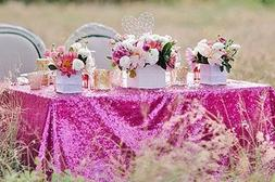 ShinyBeauty 60x102-Inch-Hot Pink-Sequin Rectangular Tableclo