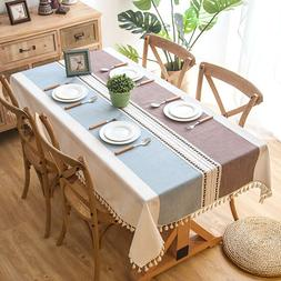 Plaid Decorative <font><b>Linen</b></font> Tablecloth With T