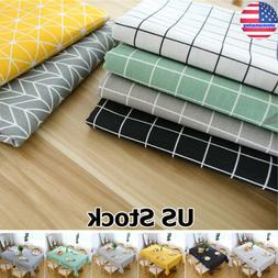 Plaid Wipe Clean Table Cloth Cotton Flax Kitchen Dining Oilp