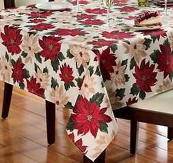 St Nicholas Square Poinsettia Flowers Tablecloth Fabric Tabl