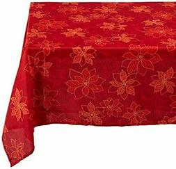 Benson Mills Poinsettia  Scroll Printed Fabric Tablecloth, 6