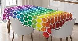 Ambesonne Polka Dots Home Decor Tablecloth, Illustration of