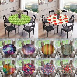 Polyester Elastic Fitted Round Tablecover Table Cloth for Ho
