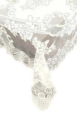 Ritz 100% Polyester Linen Floral Lace Tablecloth, Oblong, 63
