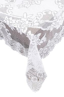 Ritz 100% Polyester Linen Tablecloth, Easy Care Floral Lace,