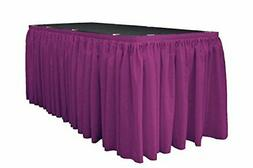 LA Linen Polyester Poplin Pleated Table Skirt with 10 Large