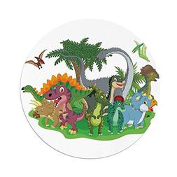 iPrint Polyester Round Tablecloth,Jurassic Decor,Cartoon Gro