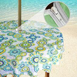 eforgift Polyester Outdoor Tablecloth for Round Umbrella Tab