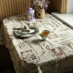 Printed Cotton Linen Lace Tablecloth Dining Table Cover For