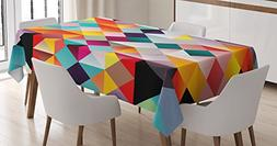 Ambesonne Psychedelic Decor Tablecloth, Retro Technology The