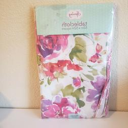 purple and pink floral vinyl table cloth