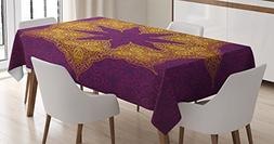 Ambesonne Purple Tablecloth, Traditional Mandala Moroccan Ro