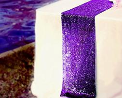 TRLYC 12 x 120 Inch Purple Sparkly Sequin Table Runner,Sequi