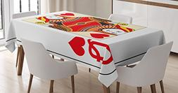Ambesonne Queen Tablecloth, Queen of Hearts Playing Card Cas