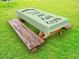 Ambesonne Quote Outdoor Tablecloth, Dress Hanger with a Tiny