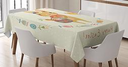 Lunarable Rabbit Tablecloth by, Bunny with a Basket in Hand